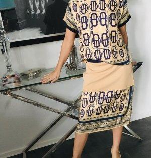 Hermès Zijden top nude-donkerblauw