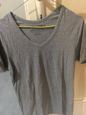 Jack & Jones T-shirt col en V gris