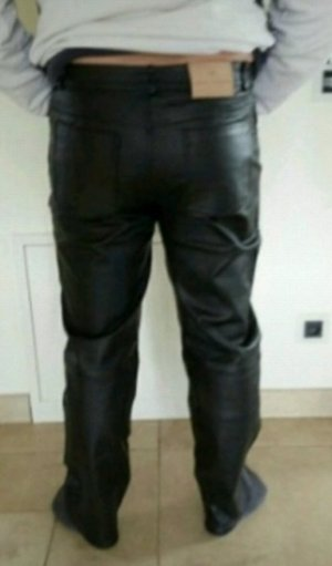 Tom Tailor Pantalon en cuir noir