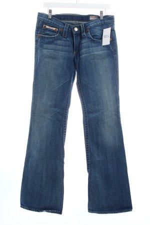 Herrlicher Boot Cut Jeans blau-wollweiß Used-Optik