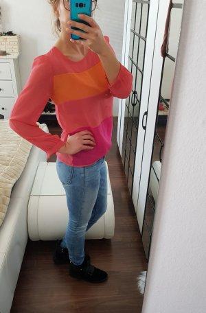 Herrlicher Colour Blocking Neon Bluse Gr. S pink orange