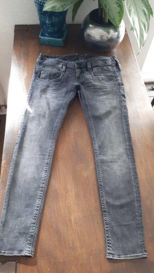 Herrlicher Jeans cigarette gris tissu mixte