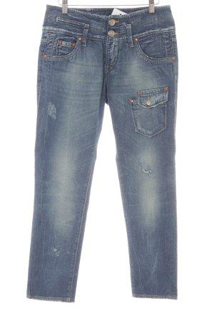 Herrlicher Low Rise jeans staalblauw-azuur casual uitstraling