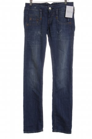 Herrlicher Low Rise Jeans steel blue Ornamental buttons
