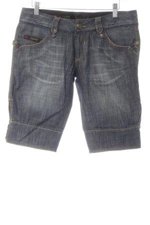 Herrlicher Pantalón corto de tela vaquera gris pizarra-gris claro moteado
