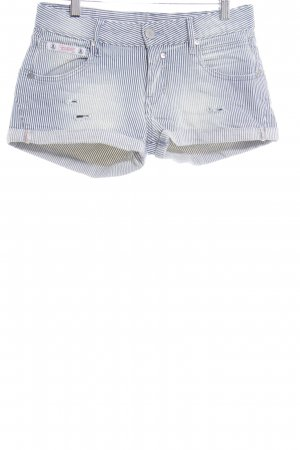 Herrlicher Jeansshorts wollweiß-blau Streifenmuster Street-Fashion-Look