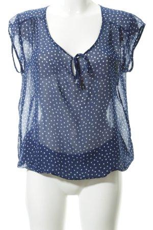 Herrlicher Kurzarm-Bluse blau-weiß Punktemuster Elegant