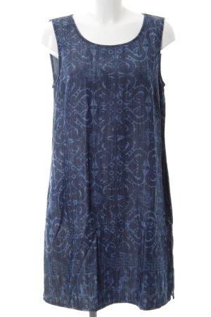 Herrlicher Kurzarmkleid dunkelblau-himmelblau florales Muster Casual-Look