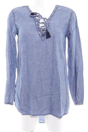 Herrlicher Langarm-Bluse stahlblau Jeans-Optik