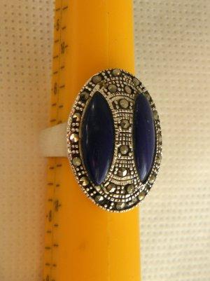 HERRLICHER RING MARKASIT  ECHT 925 SILBER & BLAUE STEINE GR. 55