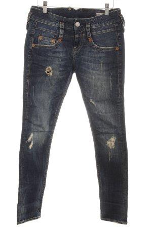 Herrlicher Skinny Jeans dunkelblau Destroy-Optik