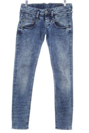 Herrlicher Skinny Jeans dunkelblau-hellbeige Jeans-Optik