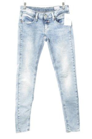 Herrlicher Skinny Jeans himmelblau-blau Bleached-Optik
