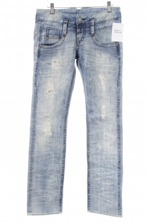 Herrlicher Skinny Jeans himmelblau Bleached-Optik