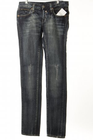 Herrlicher Slim Jeans dunkelblau-wollweiß Used-Optik