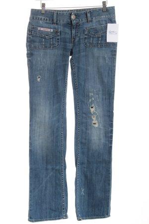 Herrlicher Straight-Leg Jeans blau Destroy-Optik