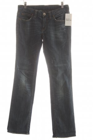 Herrlicher Straight-Leg Jeans dunkelblau Bleached-Optik