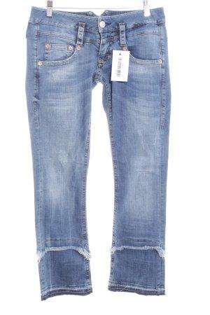 Herrlicher Jeans a gamba dritta blu acciaio-blu fiordaliso stile casual