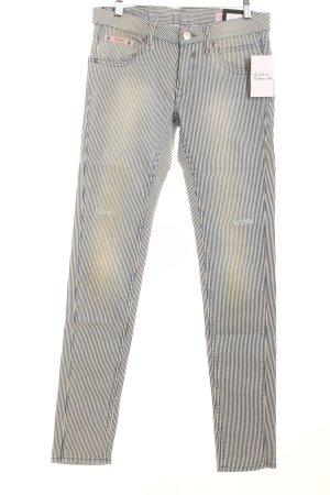 Herrlicher Stretch Jeans blau-wollweiß Streifenmuster Street-Fashion-Look