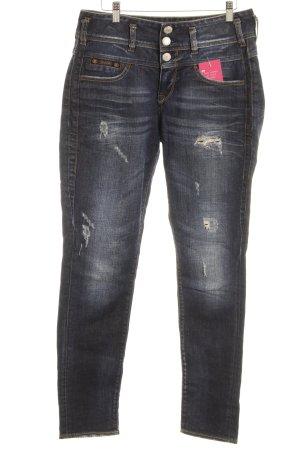Herrlicher Stretch Jeans dunkelblau Destroy-Optik