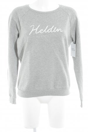 Herrlicher Sweatshirt hellgrau-silberfarben Schriftzug gestickt Casual-Look