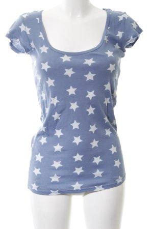 Herrlicher T-Shirt weiß-blau Allover-Druck Casual-Look