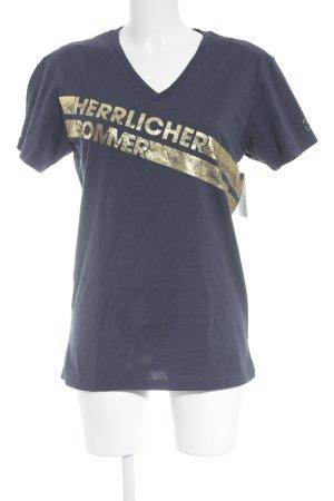 Herrlicher T-Shirt dunkelblau-goldfarben Schriftzug gedruckt sportlicher Stil