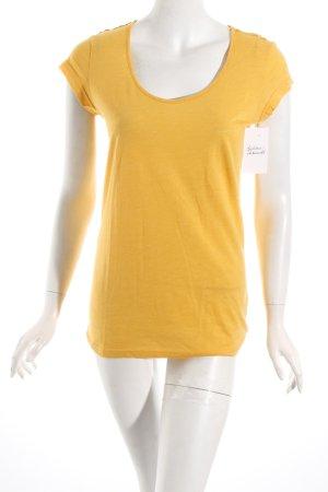 Herrlicher T-Shirt gelb meliert minimalistischer Stil