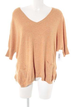 Herrlicher V-Ausschnitt-Pullover apricot meliert schlichter Stil