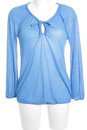 Herrlicher V-Ausschnitt-Pullover blau meliert Casual-Look