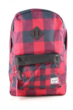 Herschel School Backpack red-black check pattern casual look
