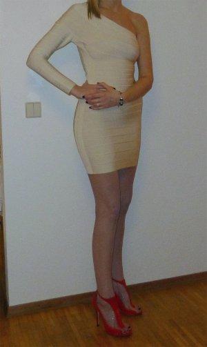 Hervé léger One Shoulder Dress cream-oatmeal rayon