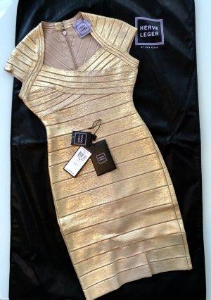 HERVE LEGER Bandagen Kleid Gold