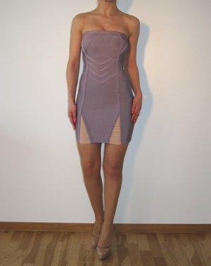 Herve Leger Kleid Bandeaukleid Lila Violett Bandage Nude w NEU ORIGINAL XS 34
