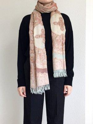 Hervorragender bunter Schal mit Perlenstickerei in rose und hellblau