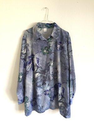 Hervorragendes vintage oversize langärmelige lange Bluse mit Blumenmuster