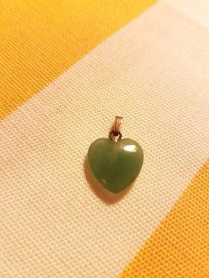 Herz Anhänger Grüner Polierter Stein