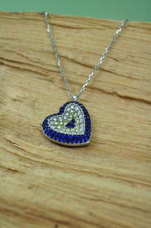 Herz Anhänger mit Steinchen in Silber / Blau und Gelb