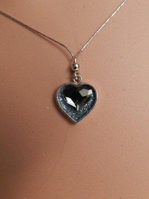 Herz-Collier mit Swarovski® Kristallen-Halskette - 925 Sterling Silber - Neu