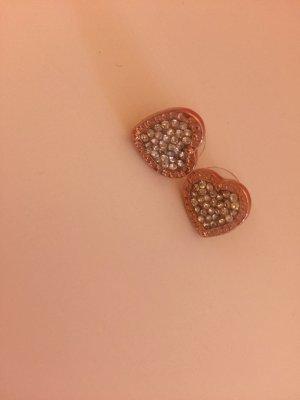 Herz Ohrringe Glitzer Stecker rosegold silber Steinchen Strass