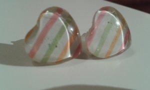 Herz Ohrringe mit rosa grün orange