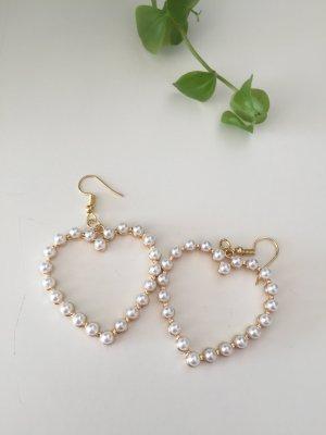Herz Perlen Ohrringe Gold Modeschmuck neu