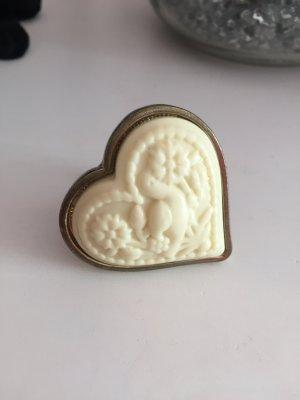 Herz Ring Gold nude Creme
