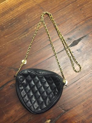Herz Tasche mit Kette schwarz Stepp Leder mit Kette Crossbodybag