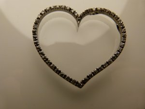 Herzanhänger Silber mit Strasstseinen neu