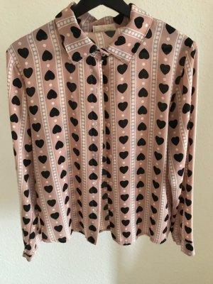 Blouse kraagje zwart-stoffig roze Polyester