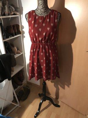 AX Paris Vestido crema-burdeos