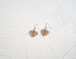 Herzen • Ohrringe Holzknopf