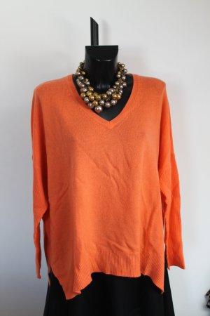 herzen's angelegenheit Sommer Kaschmir V-Neck-Pullover Koral Orange NP 259,00 € 44