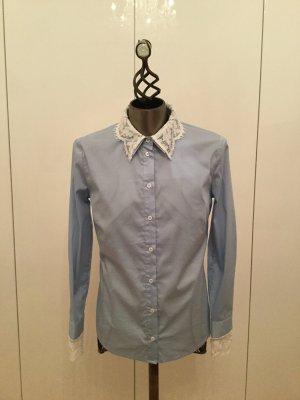 Herzensangelegenheit Blouse Collar azure-white cotton